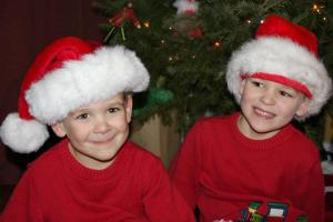 Two little boys with that Christmas twinkle.